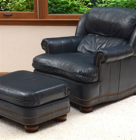 navy leather ottoman hancock moore navy leather chair and ottoman ebth