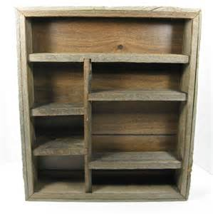 Wooden Crate Bookcase Barnwood Wall Shelf Rustic Shadow Box Knick Knack