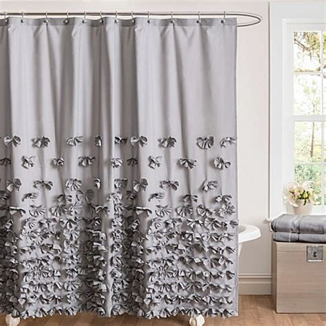 Gray Ruffle Shower Curtain Buy Juliet Bow 72 Inch X 84 Inch Shower Curtain In Grey