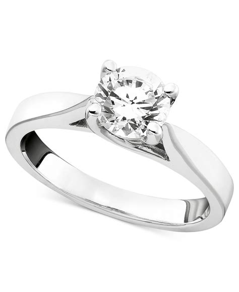 macy s certified engagement ring in 14k white gold