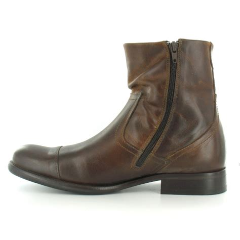 base keystone mens leather zip ankle boots brown