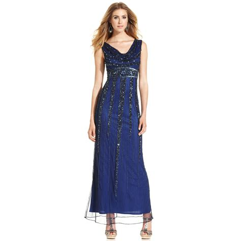 patra beaded dress patra sleeveless beaded cowlneck gown in blue lyst