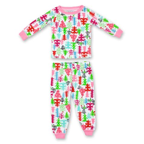 mud pie girls toddler christmas tree two piece pajama set