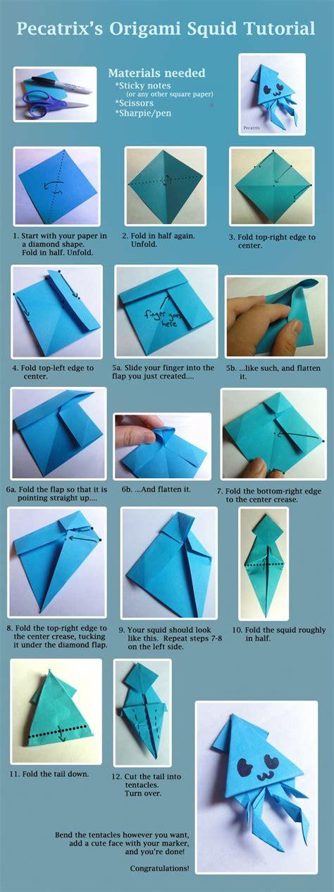 origami squid tutorial  pecatrix origami tutorial origami sticky note origami