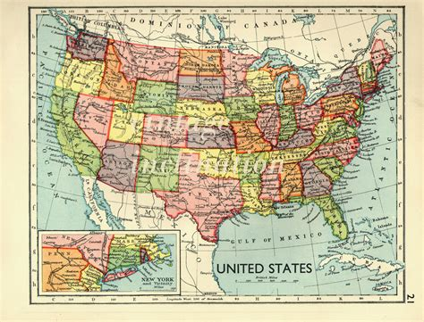 www map of united states usa map 1930s vintage united states map map decor office