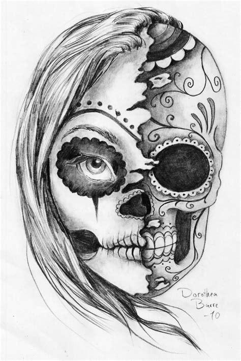 dead head tattoo designs black and white half half sugar skull evil