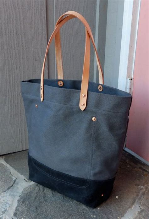 Tas Polos Kanvas Striped Khaki waxed canvas tote bag with leather handles large