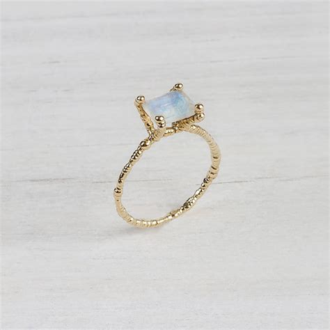 14k yellow gold ring with white moonstone