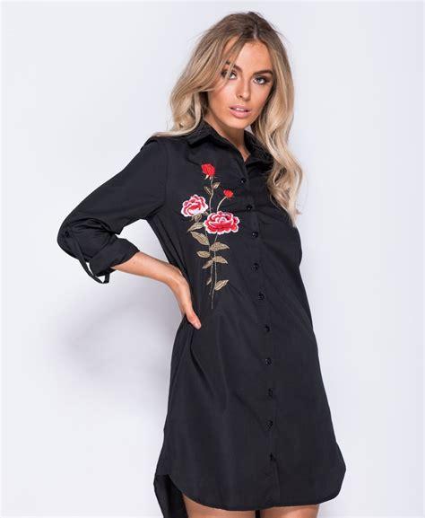 Wst 17567 Black Flower Shirt Dress embroidered shirt dress pretty panther