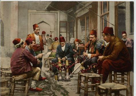 ottoman man turkish men in a cafe smoking the nargilah ottoman