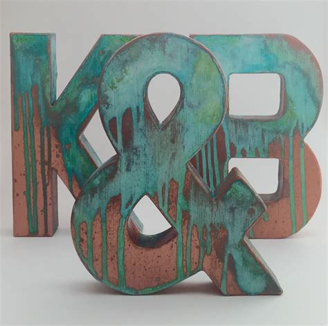 faux metal letters antique copper metal antique patina