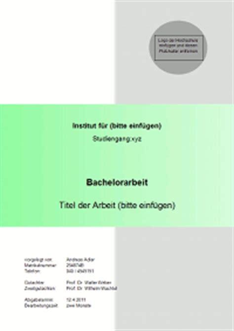 Vorlage Word Titelblatt Gestaltung Und Inhalt Des Titelblattes Einer Bachelorarbeit