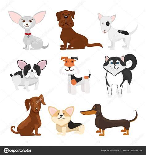 imagenes vectores de animales razas de perros dibujos animados conjunto de vectores