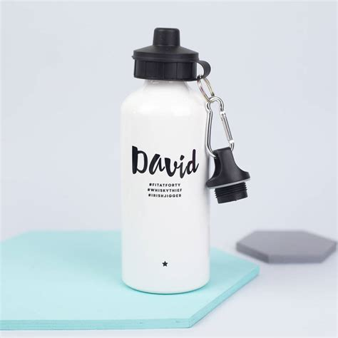 hydration hashtags personalised monochrome hashtag water bottle by xoxo