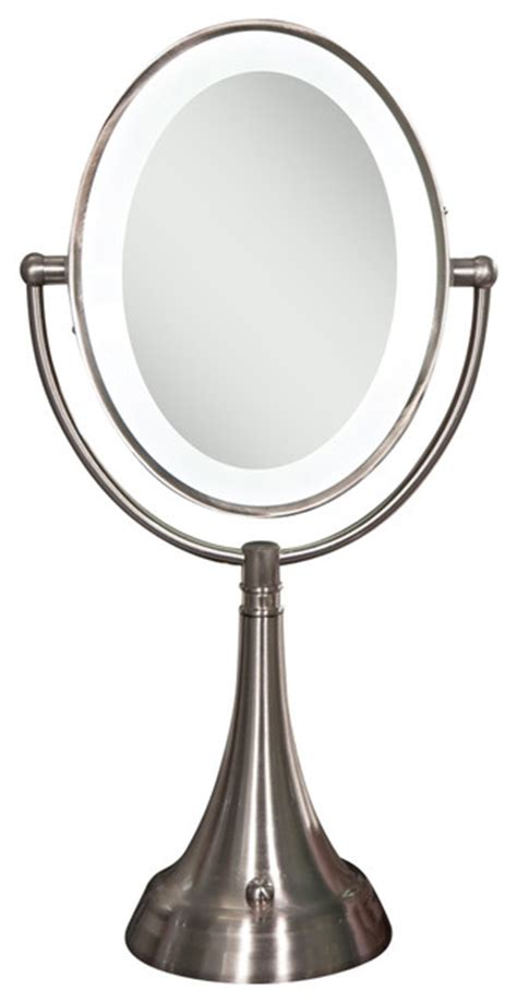 Cordless Vanity Mirror by Cordless Dual Sided Led Lighted Oval Vanity Mirror