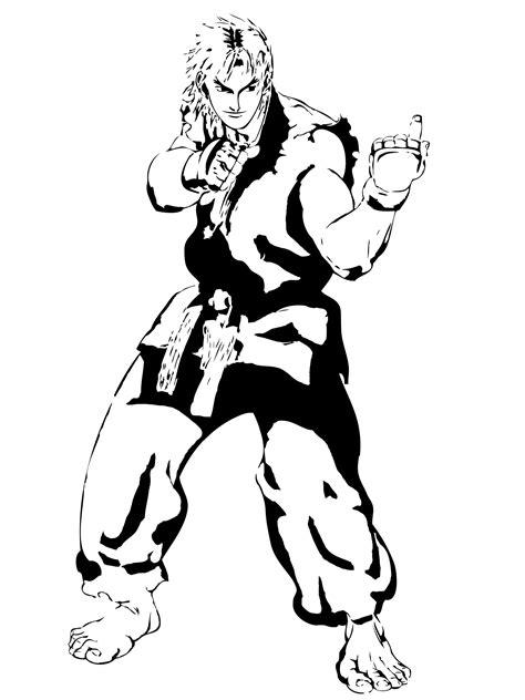 street fighter ken stencil  branbot  deviantart