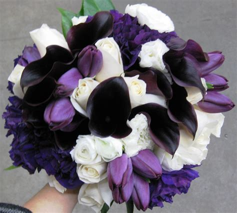 Purple Wedding Bouquets by Mini Calla Stadium Flowers