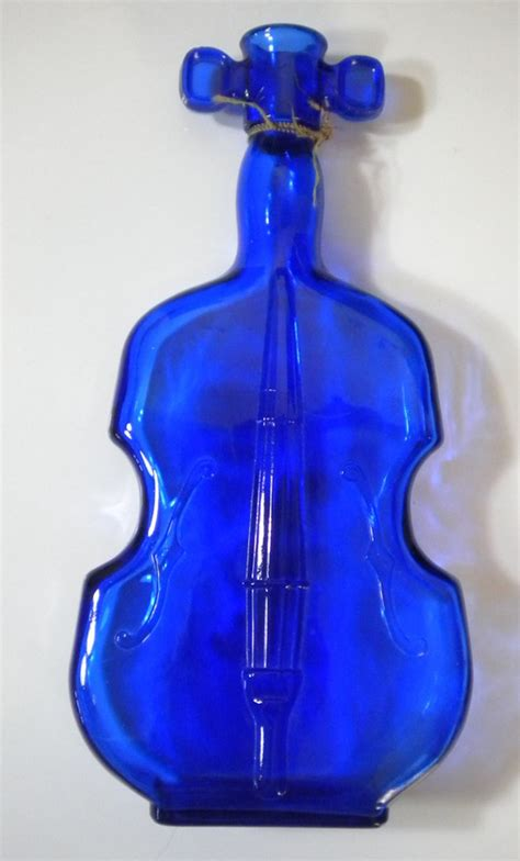 cobalt blue glass fiddle bottle violin viobot