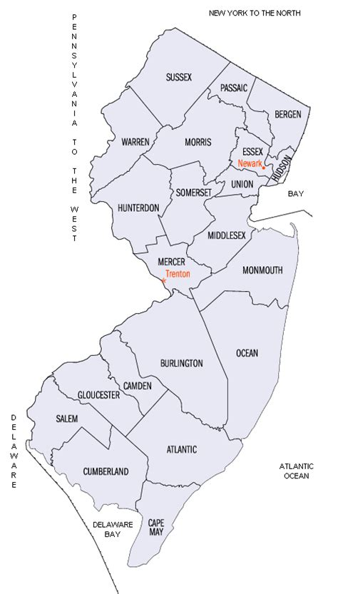 nj counties map new jersey county map