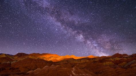 red rock mountain night starry sky landscape preview