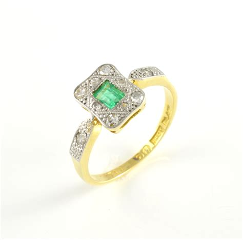 second deco rings 18ct gold emerald and deco ring