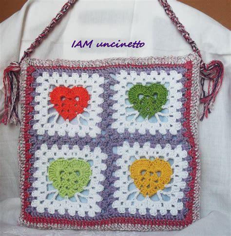100 piastrelle all uncinetto borsa a piastrelle con cuori multicolor in cotone seta e