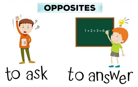 what is an ask opposite wordcard for ask and answer vector free download