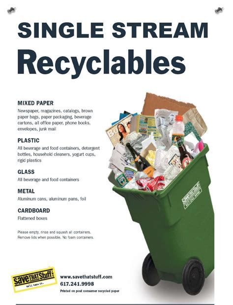 about program waste management single stream recycling posters resources save that stuff