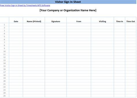 Printable Sign In Sheet Templates Visitor Sign In Sheet Template