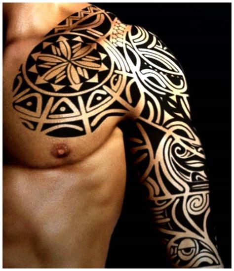 tribal chest to arm tattoo 32 amazing tribal sleeve tattoos