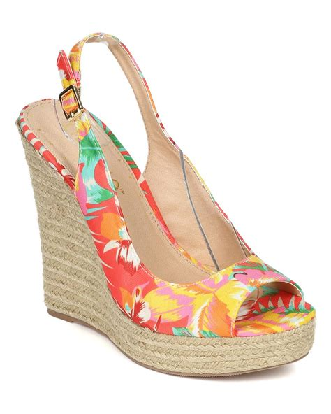 Hibiscus Print Slingback Sandals By Scorah Pattullo by Shoes Liliana Ce26 Canvas Tropical Peep Toe