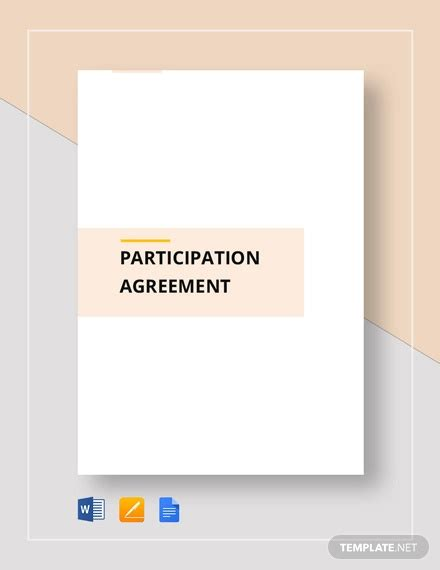 participation agreement template participation agreement templates 9 free word pdf