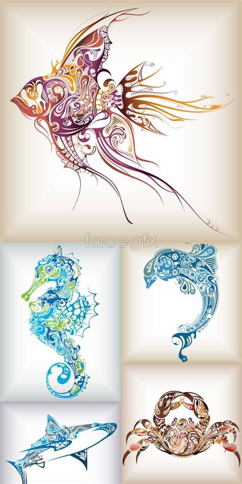 tropical fish tattoo designs free patterns of marine animals vector vector