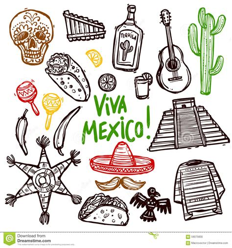 doodle 4 mexico mexico doodle set stock vector illustration of doodle