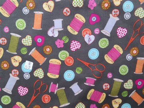 Themed Quilt Fabric by Sewing Theme Fabric Retro Sewing Notions Fabric Quilting