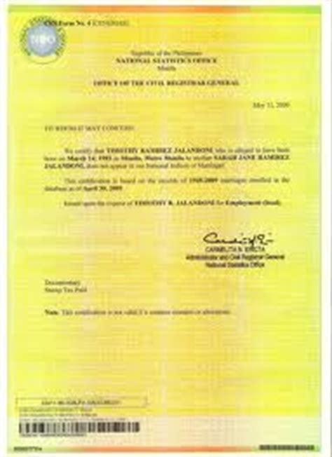 Authorization Letter Marriage Contract Ofws Guide To Philippine Documentation June 2013