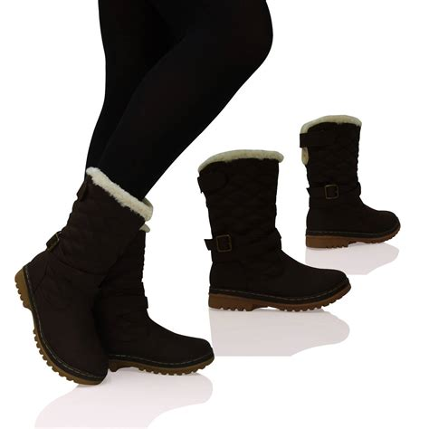 warm boots new womens flat ankle snow boots fur lined warm
