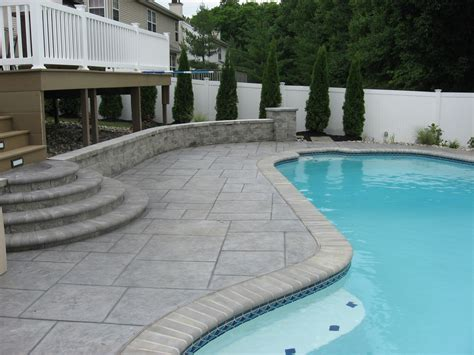 Patio Ideas Around Pool Sted Concrete Patios Around A Pool Pattern Concrete