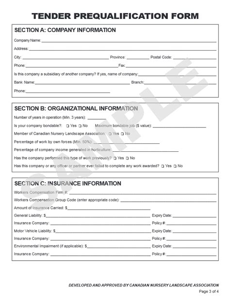 vendor qualification form template sle contract and tender prequalification form