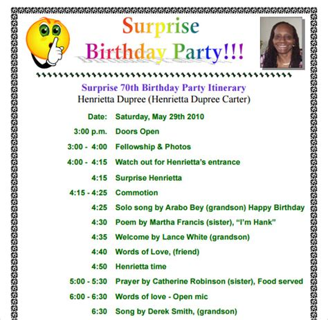 birthday program template 11 birthday itinerary templates free sle exle