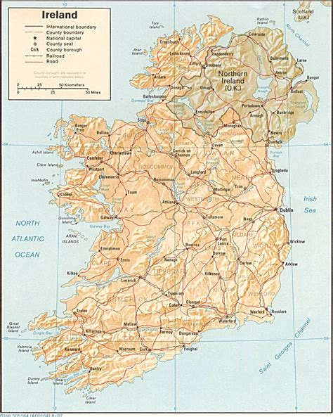 map ireland large detailed relief and political map of ireland with roads and cities vidiani maps of