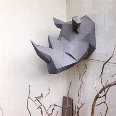 How To Make A Rhino Out Of Paper - lowpoly rhino papercraft diy model