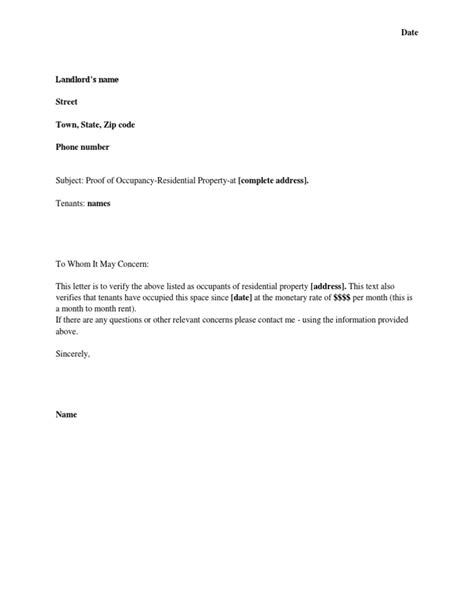 Address Proof Letter Uk landlord residency verification letter docoments ojazlink