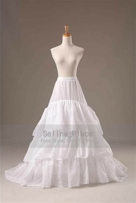 White 3 Hoop Train Wedding Dress Bridal Gown Crinoline