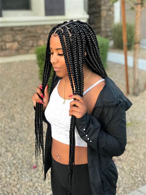 medium sized box braids black box braids protective