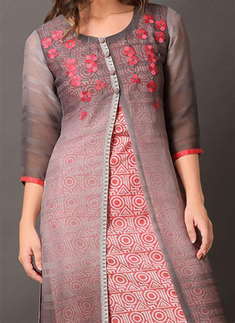 jacket pattern kurti online buy red gilet jacket style kurti long kurti online