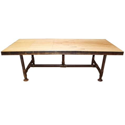 floor dining table industrial reclaimed bowling alley floor dining table at
