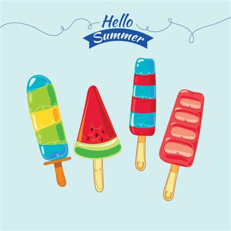 colorful popsicle colorful popsicle illustration set vector