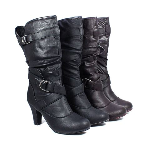 black brown synthetic leather high heel womens mid