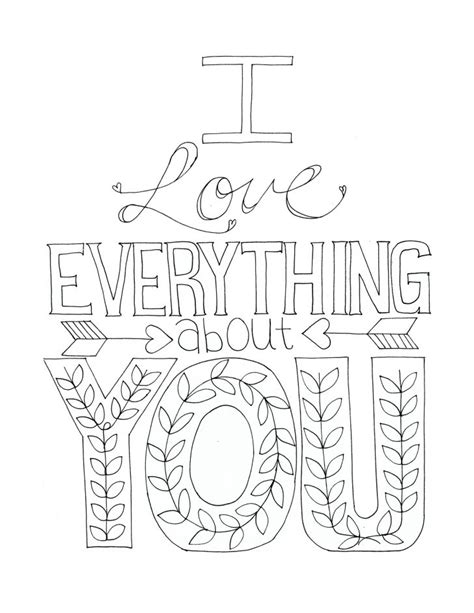 I Love Everything About You Coloring Page | i love everything about you printable color able card